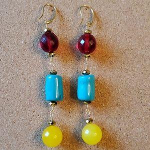 Handmade Dangle Blue Coral Earrings